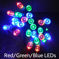 Red/Green/Blue LEDs on Green Wire